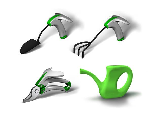 Ensemble des outils de jardinage ergonomiques de Verdurable