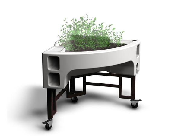 jardinière surélevée mobile ergonomique Hortense Essentiel blanc hauteur du plan de travail 75 cm Verdurable