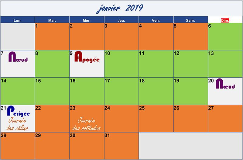 calendrier lunaire janvier 2019 Verdurable