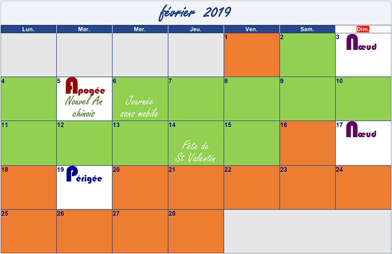 calendrier lunaire février-2019 Verdurable