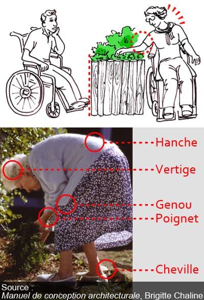 difficultés de jardinage pour une personne âgée et une personne handicapée