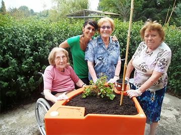 jardin thérapeutique avec jardinière sur pied destiné aux Ehpad MAS IME etc.