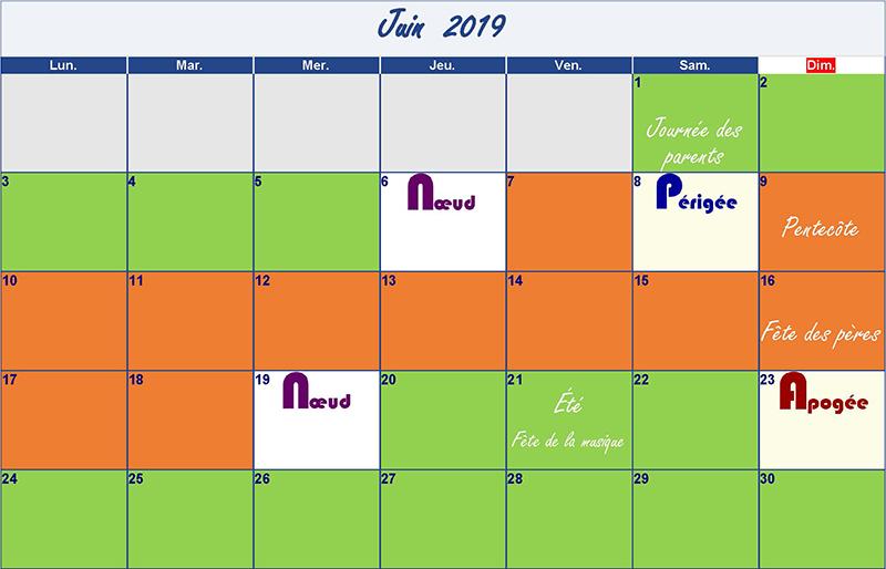 calendrier lunaire juin-2019