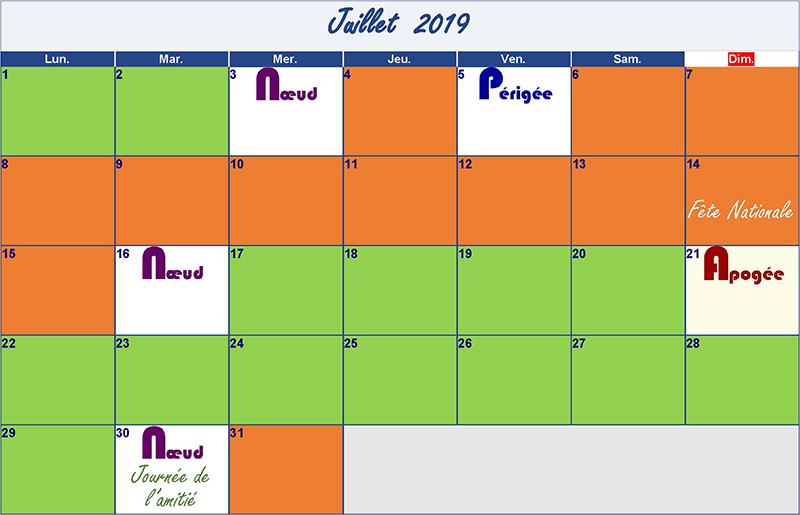 calendrier lunaire juillet 2019 Verdurable