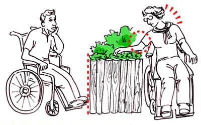 critère jardin thérapeutique - accès difficile pour fauteuil roulant