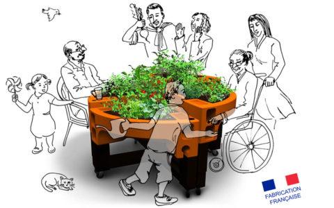 jardinière sur pied de Verdurable - jardin thérapeutique - jardin pédagogique