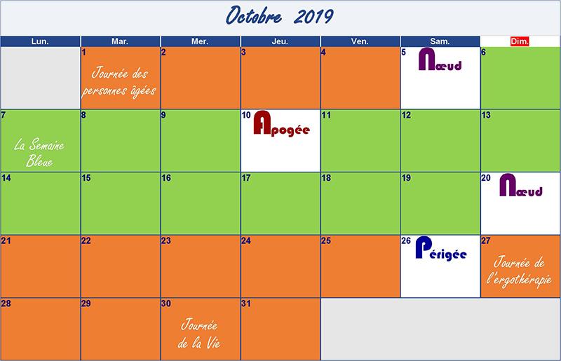 calendrier lunaire octobre 2019 Verdurable