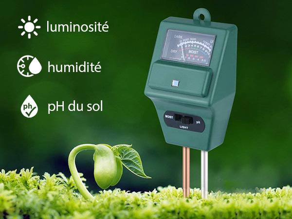 outil pour tester l'humidité la luminosité et ph du sol