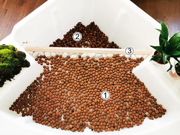 Etape 2 mettre des couches de billes d'argille
