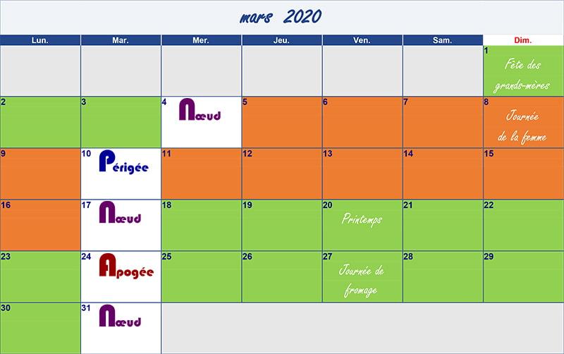 calendrier lunaire mars-2020 Verdurable