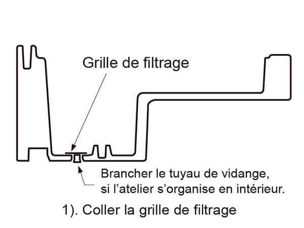 remplissage étape 1 coller le grille de filtrage