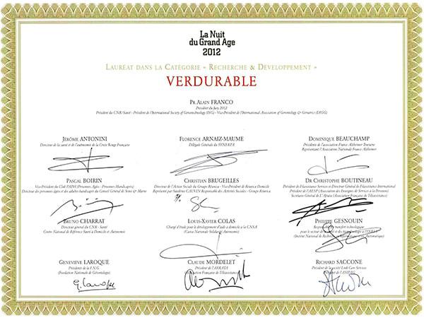 certificat lauréat trophées du grand age 2012