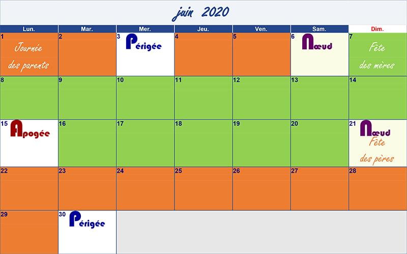 calendrier lunaire juin 2020 Verdurable