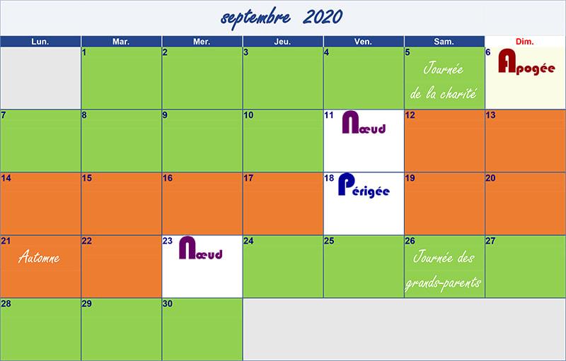 calendrier lunaire septembre 2020 Verdurable