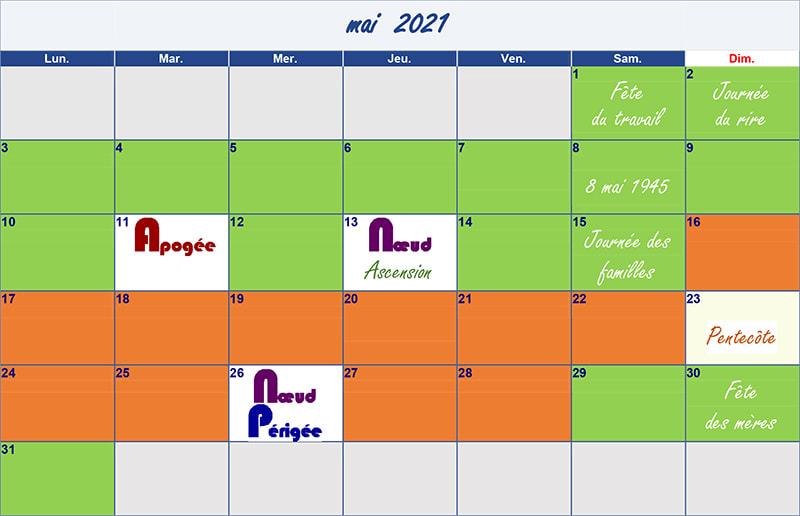 calendrier lunaire mai 2021 Verdurable