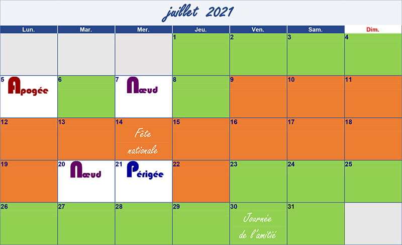 calendrier lunaire juillet 2021 Verdurable
